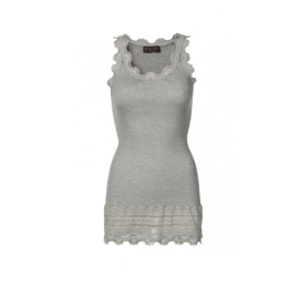 BENITA Silk Lace Tank Top - Light Grey Melange
