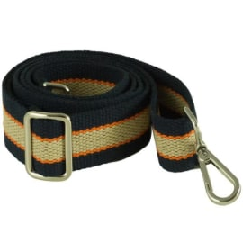 CANVAS HANDBAG STRAP - Navy & Cream with Orange