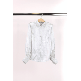 FAN Patterned Silk Shirt - Pearl/Grey