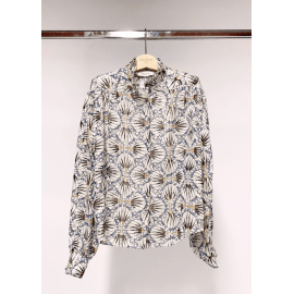 GEO Print Sparkle Silk Shirt - Blue/Grey/Ivory
