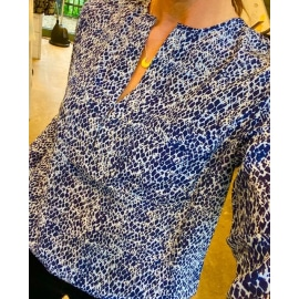 Windsor Silk Blouse - Micro Python Moonlight Blue