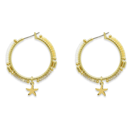 Nanche Gold Beaded Hoop Earrings