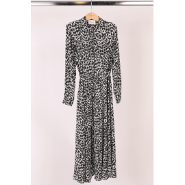 RUTH Shirt Dress - Black and White Leopard Print