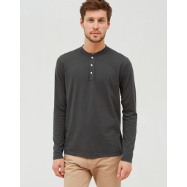 HENLEY Long Sleeve T-Shirt - Charcoal Grey