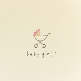 Baby Girl Pram Pencil Shavings Card