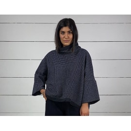 KAMAISHI Wide Sleeved Smock Top - Night Blue Dot