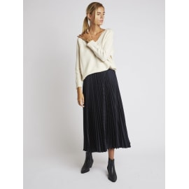 LOUISON Pleated Skirt - Navy Blue