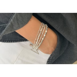 WHISTLE 4 Layered Bracelet Stack - Silver