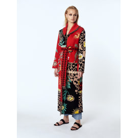 ENCHANTED LEOPARD Red/Black Long Cardigan with Belt