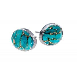 COPPER Turquoise Silver Stud Earrings