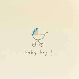 Baby Boy Pram Pencil Shavings Card