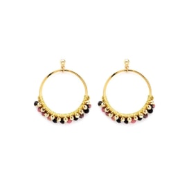 Alboka Earrings - Gold Beaded Hoop