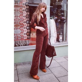 JONI Brown Cord Jumpsuit with Belt