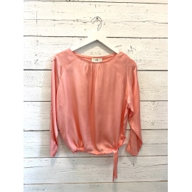 Long Sleeve Silk Satin Blouse - Mimosa Pink
