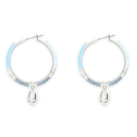 Nanche Aqua Beaded Hoop Earrings
