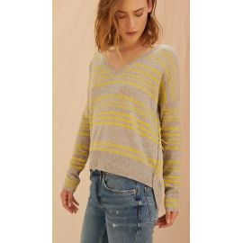 CLOVE CASHMERE JUMPER - Canary & Grey Stripes