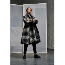 MIAN Reversible Wool Mix Coat - Grey/Black