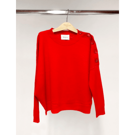 Love Button Boat Neck Cashmere Jumper - Red