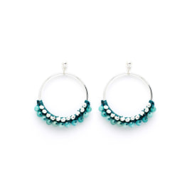 Alboka Earrings - Silver/Teal Beaded Hoop