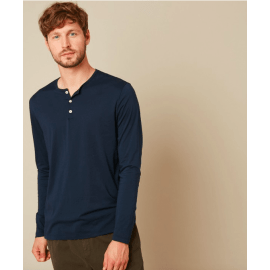 HENLEY Long Sleeve T-Shirt - Navy Blue