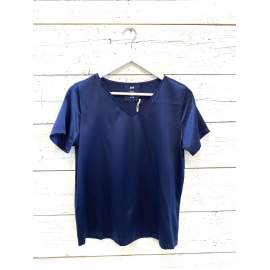 V-NECK Satin Silk T-Shirt - Saphir