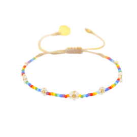 Rainbow Beaded Bracelet - Flower Power