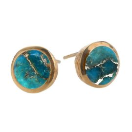 COPPER Turquoise Gold Vermeil Stud Earrings