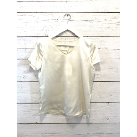 V-NECK Satin Silk T-Shirt - Pearl