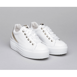 LEATHER PLATFORM TRAINERS - White/Gold