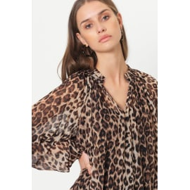 CELLO Blouse - Brown Leopard Print