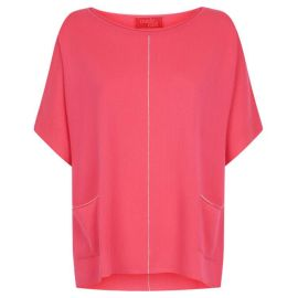ANNIE Short Sleeve Boxy Jumper - Hot Pink/Silver