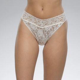SIGNATURE LACE THONG - Ivory