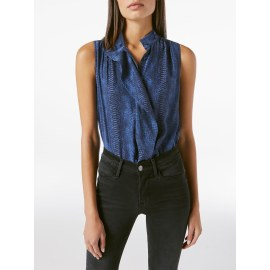 CRAVAT COLLARED Sleeveless Silk Blouse - Navy Animal Print