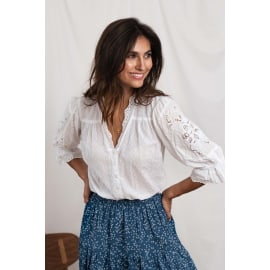 CHARLIE Embroidered Blouse- White