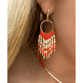 Morinda Coral Beaded Tassel Earrings
