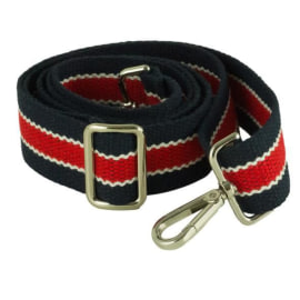 CANVAS HANDBAG STRAP - Navy & Red with White