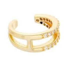 2 ROW Gold Pave Ear Cuff - Single