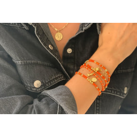 HELICON 4 Layered Stretch Bracelet Stack - Orange