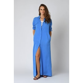 ALONA Long Shirt Dress - Cobalt Blue