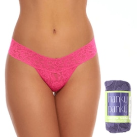 SIGNATURE LACE THONG - Flamboyant Pink
