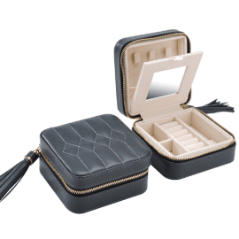 BOBOLI LEATHER JEWELLERY BOX - Grey