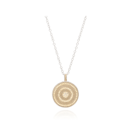 "BEADED CIRCLE PENDANT Necklace 30"" - Gold/Silver"
