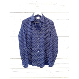SAMMY Circle Pattern Linen Shirt - Navy