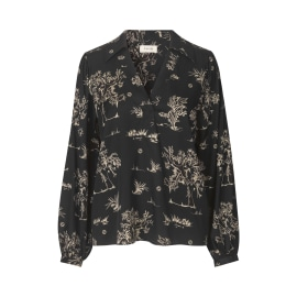 KARMA Patterned Silk Blouse - Caviar/Sand