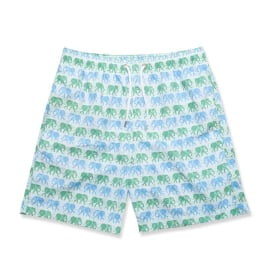 Men's Swim Shorts - Elephants Green/Blue