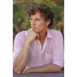 Sicily Men's Cotton Shirt - White/Pink
