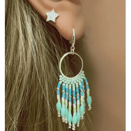 Morinda Mint Green Beaded Tassel Earrings