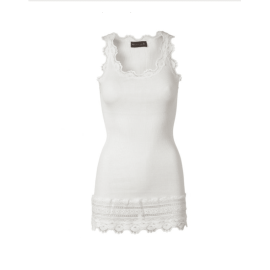 BENITA Lace Silk Tank Top - New White