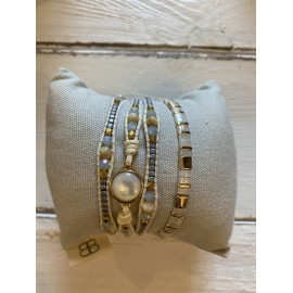 MATERHORN 2 Layered Bracelet Stack - Ivory & Gold