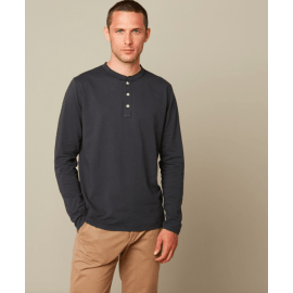 HENLEY Long Sleeve T-Shirt - Charcoal